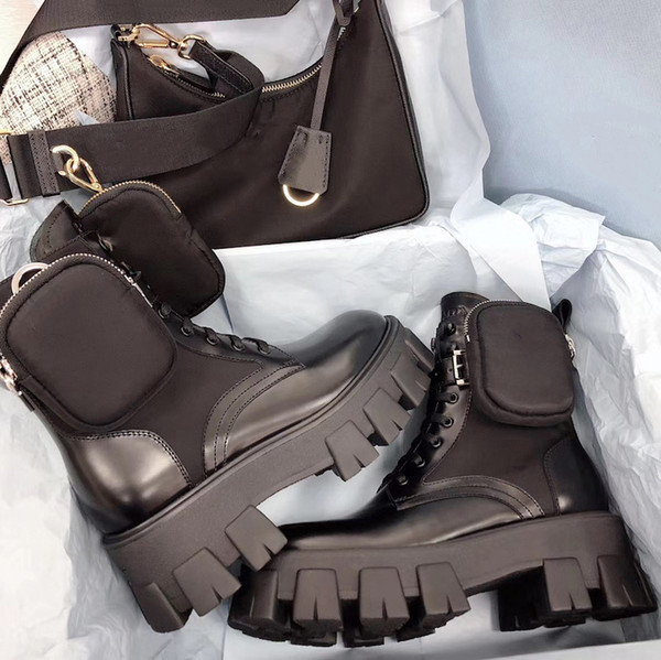 best selling Women Designers Rois Boots Ankle Martin Boots and Nylon Boot military inspired combat boots nylon bouch attached to the ankle with bags