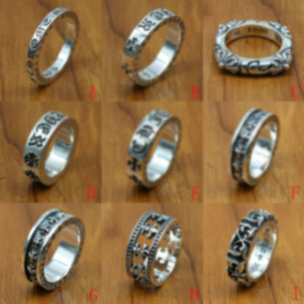 top popular new 925 sterling silver jewelry vintage style antique silver hand-made designer band rings crosses 2021
