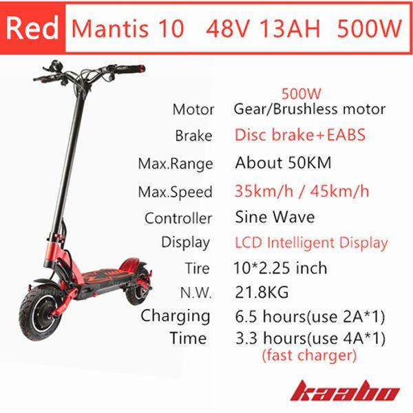 M10 48V 500W Red