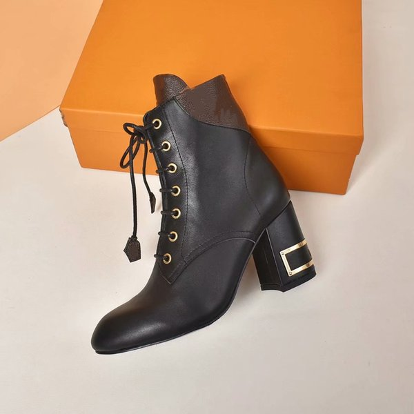 best selling The new ladies mid-cut hollow square root lace-up brown khaki matching leather fashion boots