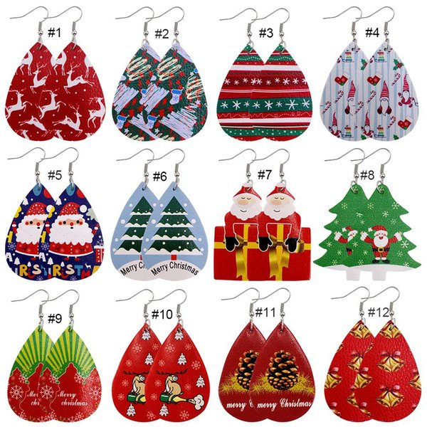 best selling 12 Styles Christmas Ornaments Festival Party Favor Christmas Earrings Christmas Snowman Deer Print Leather Earrings Holiday Gift Jewelry