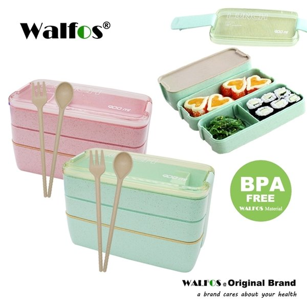 top popular New Arrive 900ml Japanese Microwave Lunch Box Portable 3 Layer Bento Box Healthy Food Container Oven Dinnerware set 201210 2021
