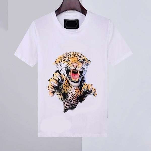 top popular 20ss new Mens shirt Summer t shirt short Sleeve Tee phillip plain 100% Cotton Animal Print round neck Fashion men t-shirts 2021