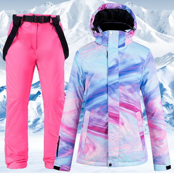top popular New Warm Colorful Ski Suit Women Waterproof Windproof Skiing and Snowboarding Jacket Pants Set Female Outdoor Snow Costumes 2021