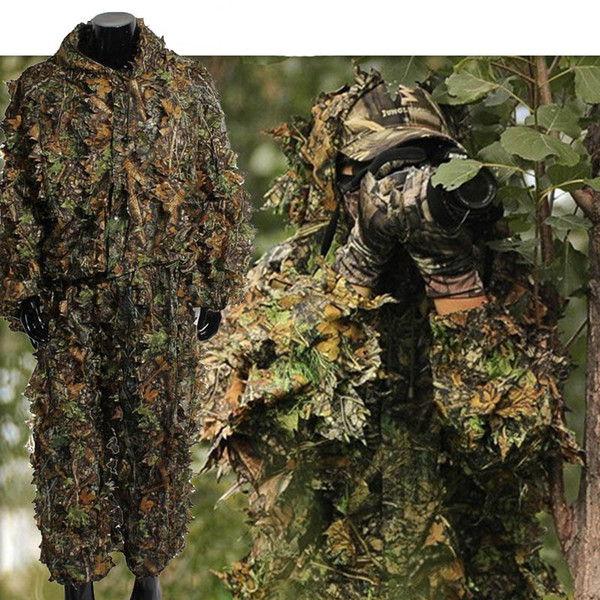 top popular Outdoor Sports Shooting Combat Clothes Birding Suit Camo Bionic Leaf Sniper Camouflage Clothing Tactical Leafy Poncho Ghillie Suit NO05-302 2021