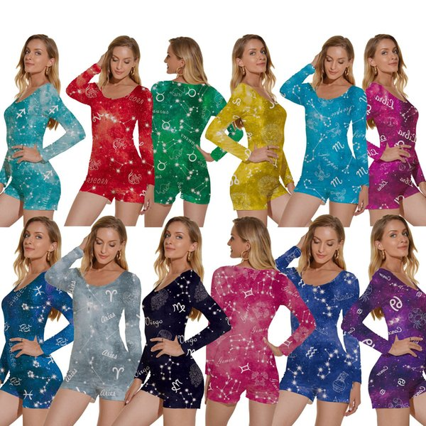 top popular wholesale women onesies twelve constellation printing long sleeved Jumpsuit Rompers pajamas deep V nightclub bodysuit home clothes 2020