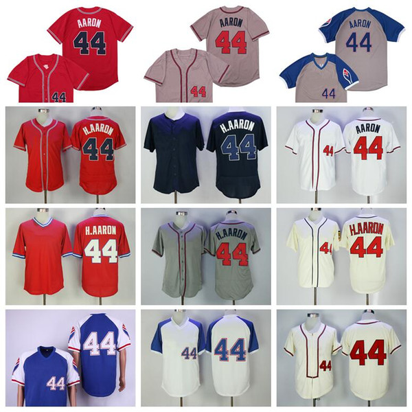 men retire 1957 1963 1974 1980 vintage 44 hank aaron baseball jersey pullover flexbase cool base red white retro blue beige grey stitched, Blue;black