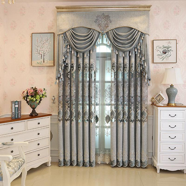 top popular European Embroidery Gray Hollow Out Curtains for Living Dining Room Bedroom. 2021
