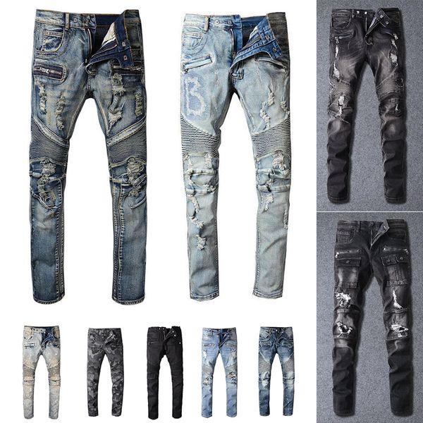 top popular 2021 Mens Designer Jeans Distressed Ripped Biker Slim Fit Motorcycle Biker Denim For Men s Fashion Mans Black Pants 20ss pour hommes 2021