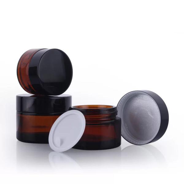 top popular Brown Amber Glass Cream Jar Black Lid 515 30 50 100G Cosmetic Jar Packaging Sample Eye Cream 2021