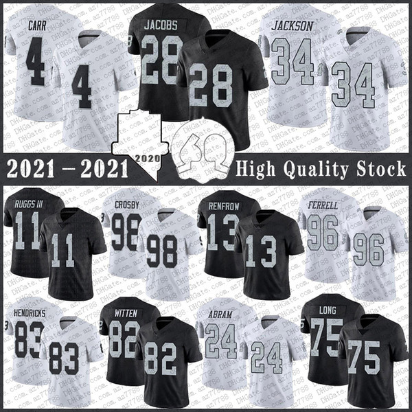 best selling 28 Josh Jacobs 4 Derek Carr Football Jersey 98 Maxx Crosby 13 Hunter Renfrow 83 Darren Waller 75 Howie long 11 Henry Ruggs Johnathan Abram