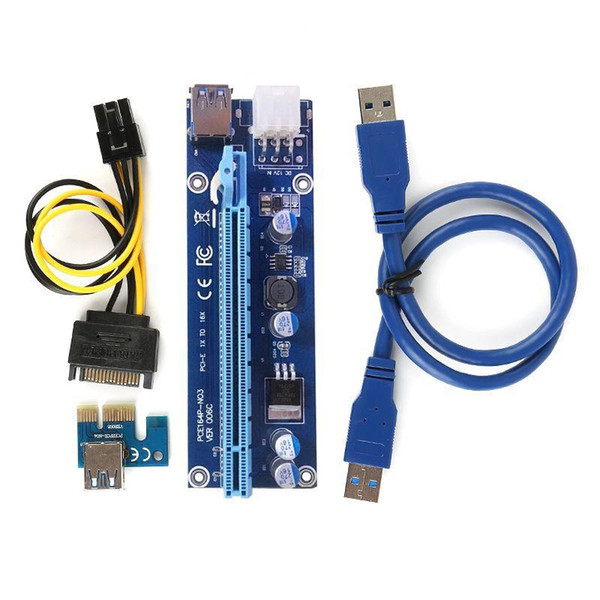 top popular VER006C PCIE PCI-E Riser Card 006C 6Pin 1x to 16x Extender USB3.0 Cable Adapter SATA to IDE for Bitcoin Mining Miner 2021