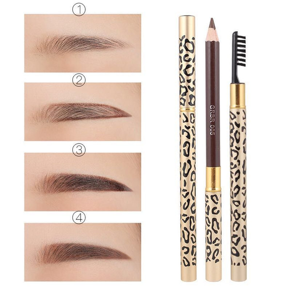 best selling Factory Direct Free Shipping New Makeup Eyes Flamingos Leopard New Professional Make-up Eyebrow Pencil & Brush!Black Brown Gray