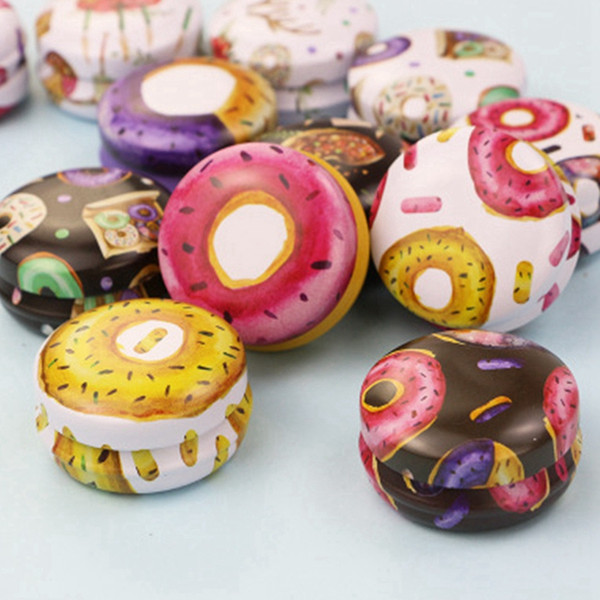 top popular Tinplate Candle Jar Empty Tin Can Donut Metal Handmade Aroma Candle Making Accessories Mini Box with Lid Small Home Decor EEA2116 2021