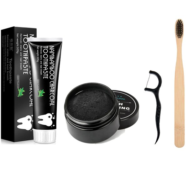best selling EPACK 100% Natural Organic Activated Charcoal Teeth Powder Toothpashe Set Remove Smoke Tea Coffee Yellow Stains Bad Breath