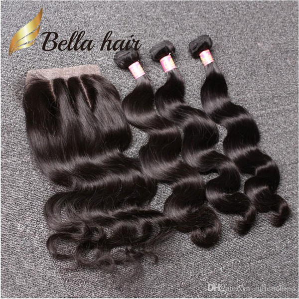 best selling Bella Hair® Brazilian Hair Bundles with Closure 8-30 Double Weft Human Hair Extensions Hair Weaves Closure Body Wave Wavy Julienchina