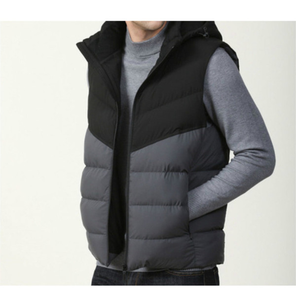 best selling Men's down vest Hot cotton wool collar down Have a hat vests sleeveless jackets plus size quilted vests outerw best-selling size:L-6XL