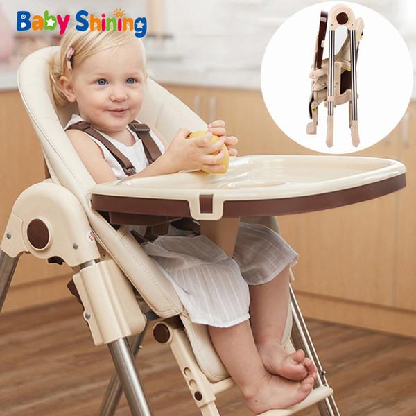 best selling Shining Muti-function High Kid Feeding Foldable Table Portable Seat Baby Dining Chair 4 Wheel LJ201110