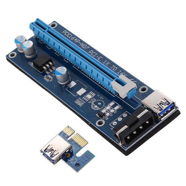 top popular VER 007 PCIe PCI-E PCI Express 1x to 16x Riser Card USB 3.0 Data Cable SATA to 6Pin IDE Molex Power Supply 2021