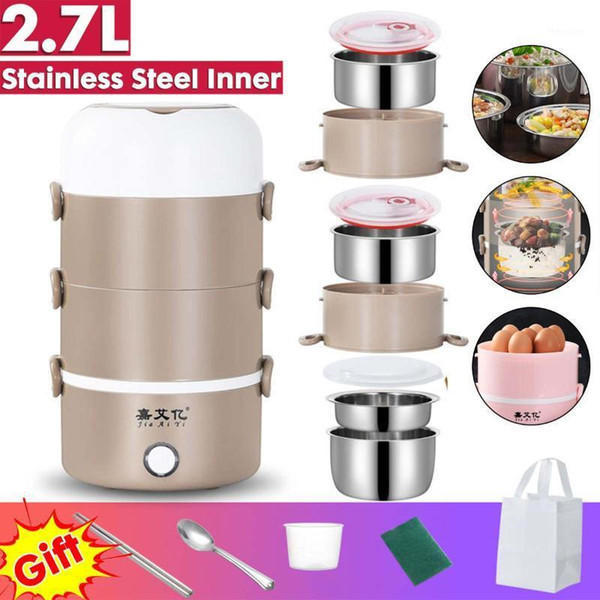 top popular 4 Layer 2.7L 220V Electric Lunch Box Stainless Steel Portable Rice Cooker Warmer Container Steamer Office Student Bento Box1 2021