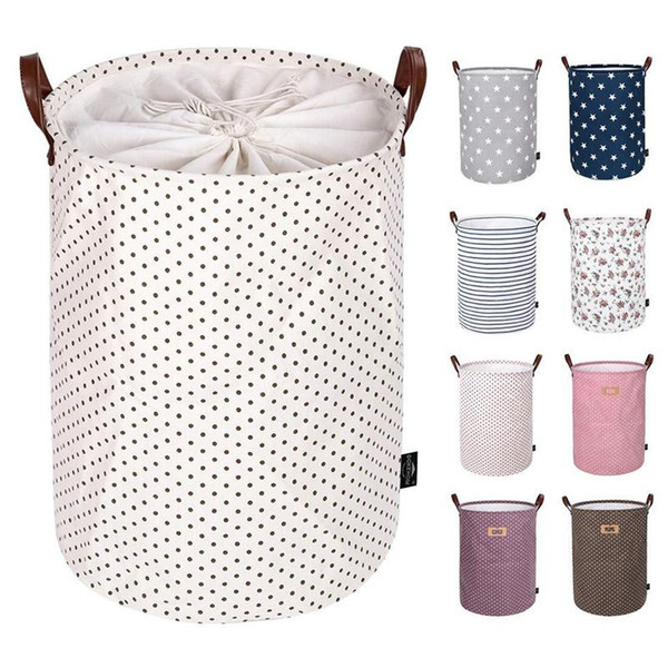Printed Sundry Bucket Canvas Handbags Foldable Storage Basket Kids Toys Bags Bins Clothing Organizer Tote Storage bags online wholesale storage bags Home storage organizations Buy Storage bags Storage bags for sale Storage bags for cosmetics