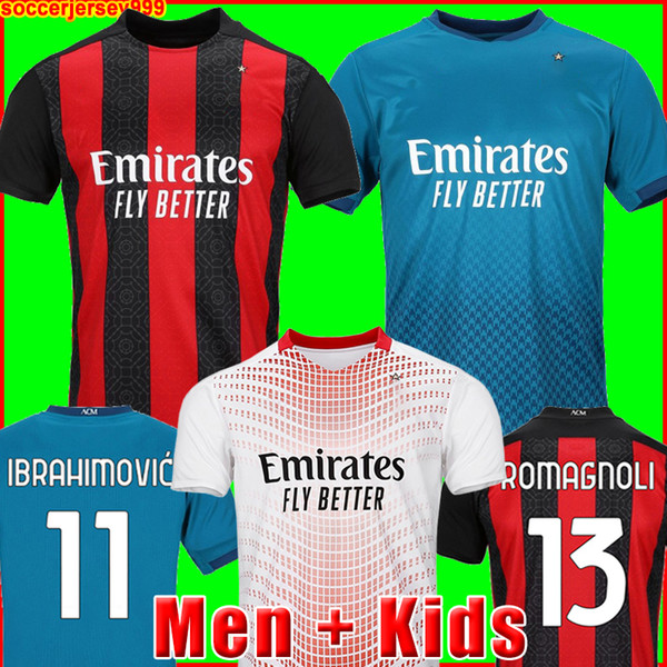 top popular AC milan 20 21 soccer jersey IBRAHIMOVIC PAQUETA BENNACER ROMAGNOLI CALHANOGLU 2020 2021 football shirt TONALI REBIC maillot men + kids kit 2021