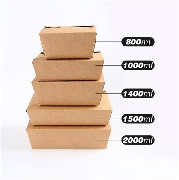 top popular Disposable Kraft Paper Lunch Takeaway Folding Rectangular Box Tearable Packing Boxes Free Shipping A02 2021