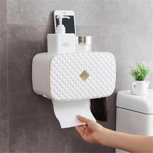 top popular New Waterproof Wall Mount Toilet Paper Holder Shelf For Toilet Paper Tray Roll Towel Holder Tissue Box Storage Box Tray 2021