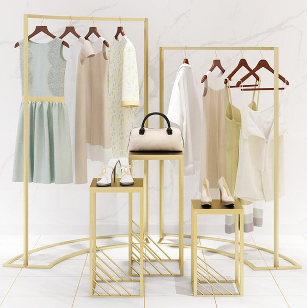 top popular Clothing store display rack Zhongdao display cabinet women's clothing store horizontal bar iron art high and low window stand landing 2021