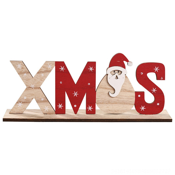 Wooden Printed Letter Ornament Xmas Old