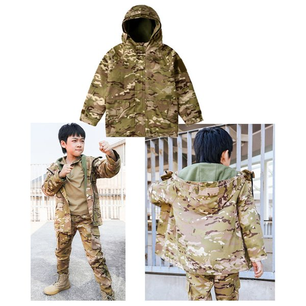 top popular Outdoor Sports Airsoft Gear Jungle Hunting Woodland Shooting Coat Combat Children Clothing Camouflage Kid Child Jacket NO05-224A 2021
