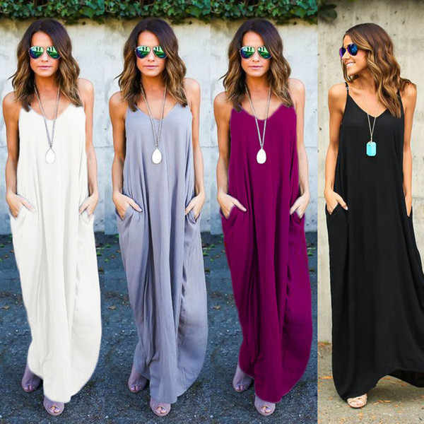 best selling 2020 summer women's irregular suspender long skirt solid pocket casual dress