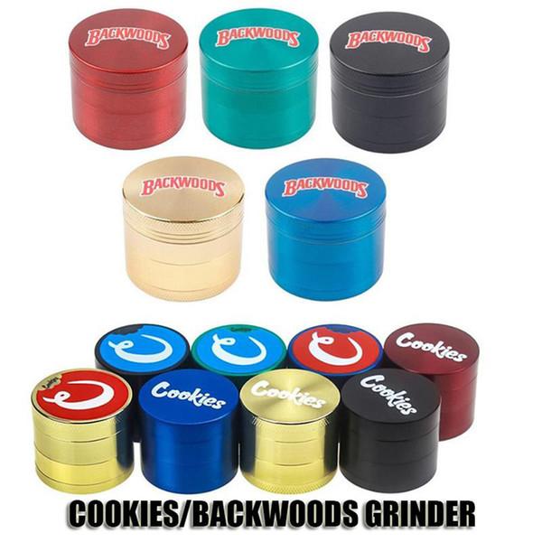 top popular Cookies Backwoods Grinder 40mm 50mm 55mm 63mm Tobacco Slicer 4 Layers Herb Crusher Metal Grinders Hand Muler Smoking Accessories 2021