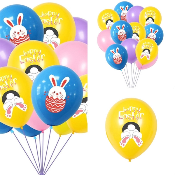 top popular Easter Letters Rabbit Print Balloons Latex Air Balloon Kids Toys Cartoon Bunny Balloon Easter Party Decoration Eggs Festival Supplies G10703 2021