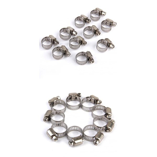 top popular 20x Adjustable Car Fuel Pipe Hose Clips Stainless Spring Clamp 8-12mm+10-16mm 2021