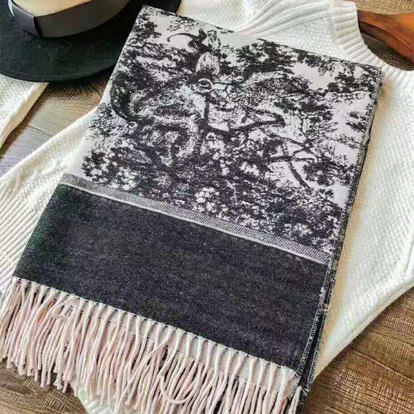 top popular 2020 Fashion Winter Scarf Cashmere Warm for Women Designer Luxury Long Scarves with silver thread Shawls Wrap 2021