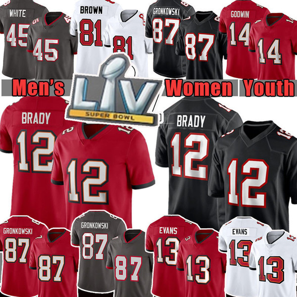 top popular 12 Tom Brady Men Women Youth 87 Rob Gronkowski Mike Evans Football Jersey Chris Devin White Godwin Tampa