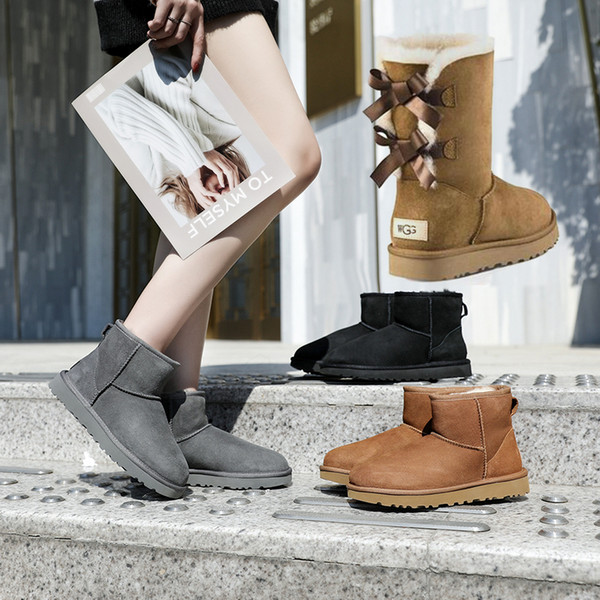 best selling New Booties Women Winter Snow Boots Fashion Martin Classic Short bow boots Ankle Knee Bow girl MINI Bailey Boot Size 35-41