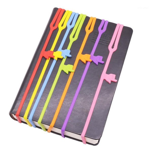 best selling 1 Pcs Flexible bookmark Learning Stationery Unique Creative Silicone Finger Pointing Bookmark Elasticity Book Mark1