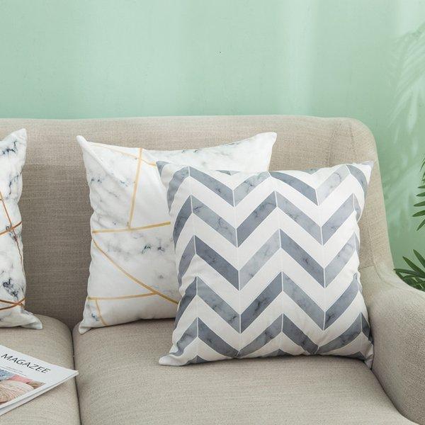 top popular Geometric Ins Texture Nordic Super Marble Soft Pillow Sofa Cushion Office Pillow Nap Pillow 2021