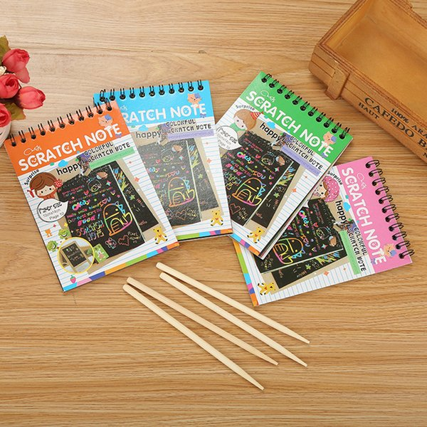 top popular Scratch note Black cardboard Creative DIY draw sketch notes for kids toy notebook Coloring Drawing Note Book Supplies C131 2021