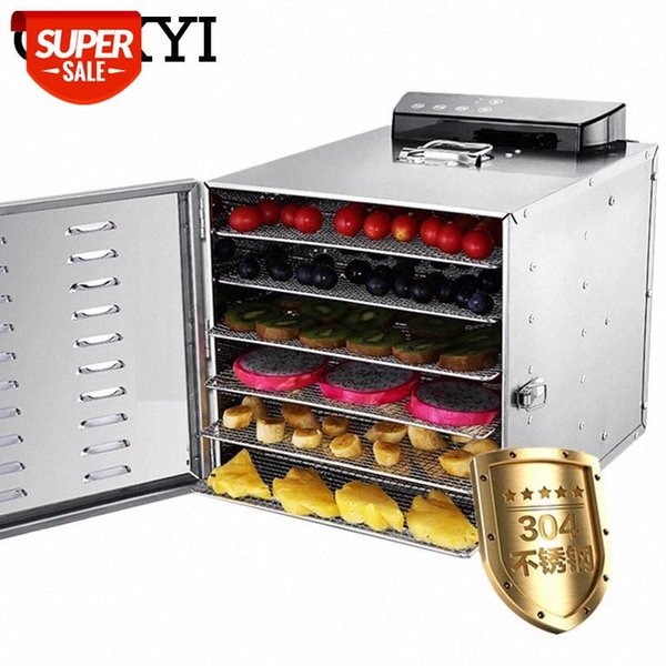best selling CUKYI 6 Trays Stainless Steel Food Dehydrator Snacks Dehydration Dryer Fruit Vegetable Herb Meat Drying Machine 110V 220V EU US #Yr7Y