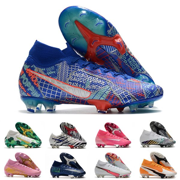 best selling Mens FG Pro Soccer Cleats Hi Kids Korea Mbappe Rosa Shoes Women Superfly Sancho Elite Outdoor CR7 Mercurial Football Boots