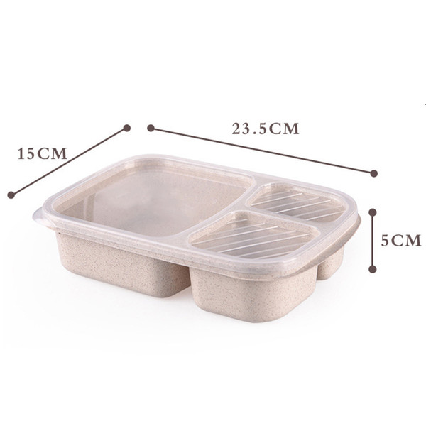 top popular Bento Wheat Straw Lunch Microwave 4 Colors Quality Health Natural Student Portable Food Storage Box Tableware 2021