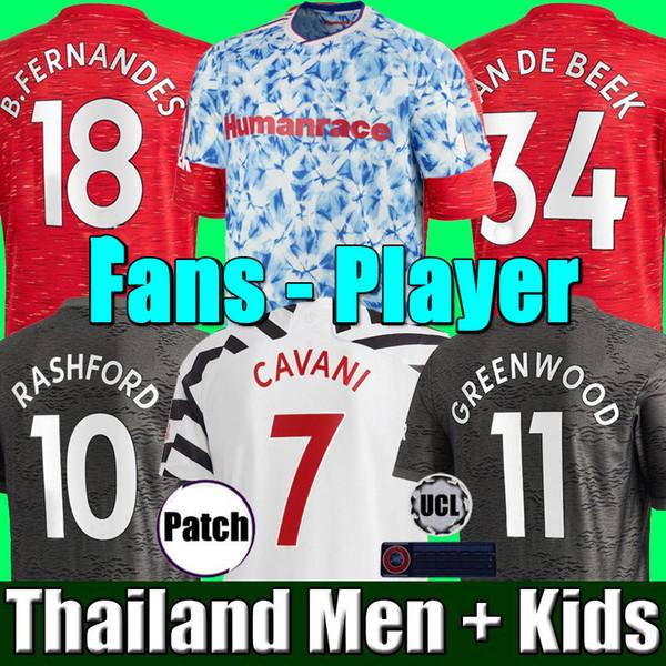 best selling Player Version RASHFORD FERNANDES 20 21 manchester soccer united jersey GREENWOOD van de beek utd 2020 2021 football kit shirt men kids sets