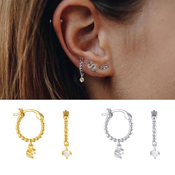 Februaryfrost Brand Designer 100% 925 Sterling Silver Exquisite Small Zircon Stud Earrings for Women Fashion Designer Women Simple Earrings