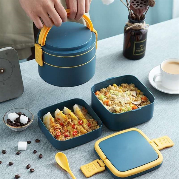 top popular Japanese style lunch box for kids Leak-Proof food container storage box Portable Multi-layer cute bento box With Compartment 201210 2021