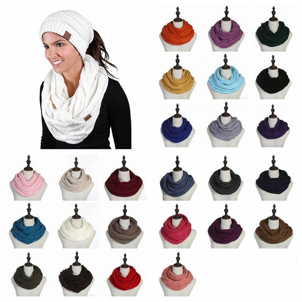 top popular 25 color Winter Scarf For Girls Women Acrylic Warm Circle Loop Scarf Neck Scarf Comfortable Solid Color Warm Big kids Scarves 30pcs 2021
