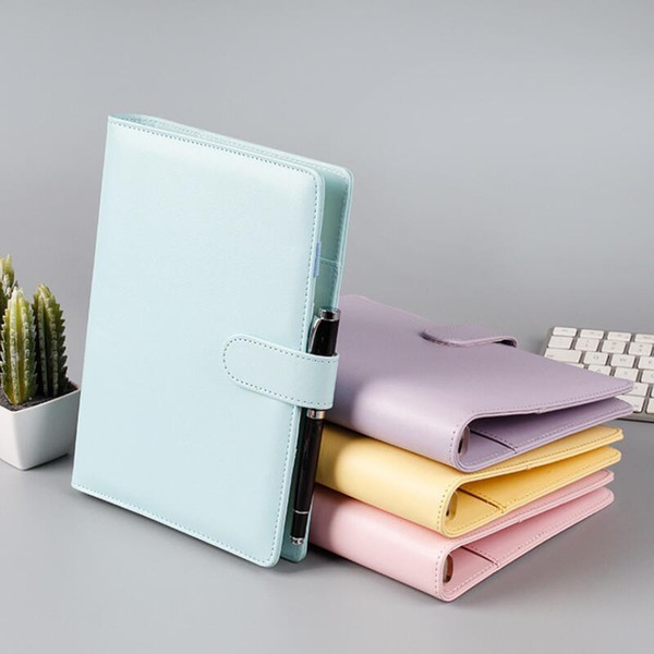best selling A6 Empty Notebook Binder Loose Leaf Notebooks Without Paper PU Faux Leather Cover File Folder Spiral Planners Scrapbook DHL Free