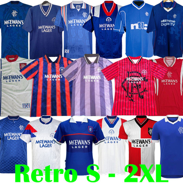 top popular 87 90 92 94 96 97 99 01 Glasgow Rangers Retro soccer jerseys blue away white GASCOIGNE LAUDRUP Soccer Shirts MCCOIST football kits Uniforms 2021